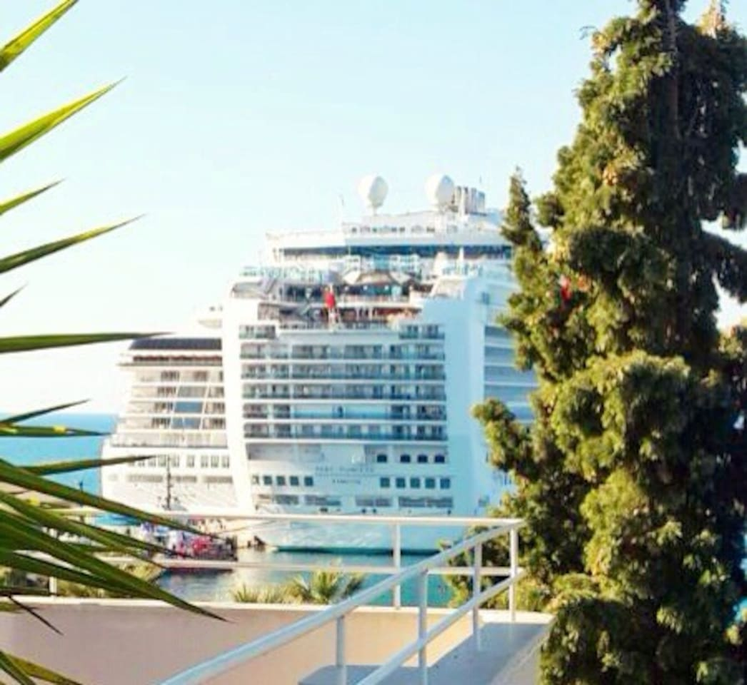 Overview from balcony/terrace. Yearly 600 cruise ships visit Kusadasi...