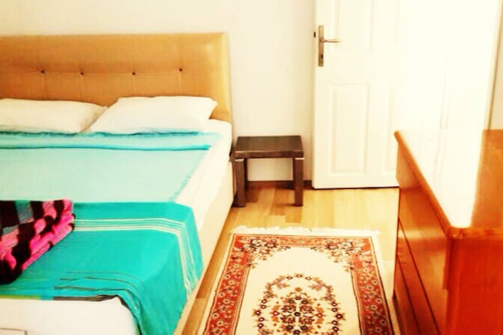 Sleeping room with double bed for two person.