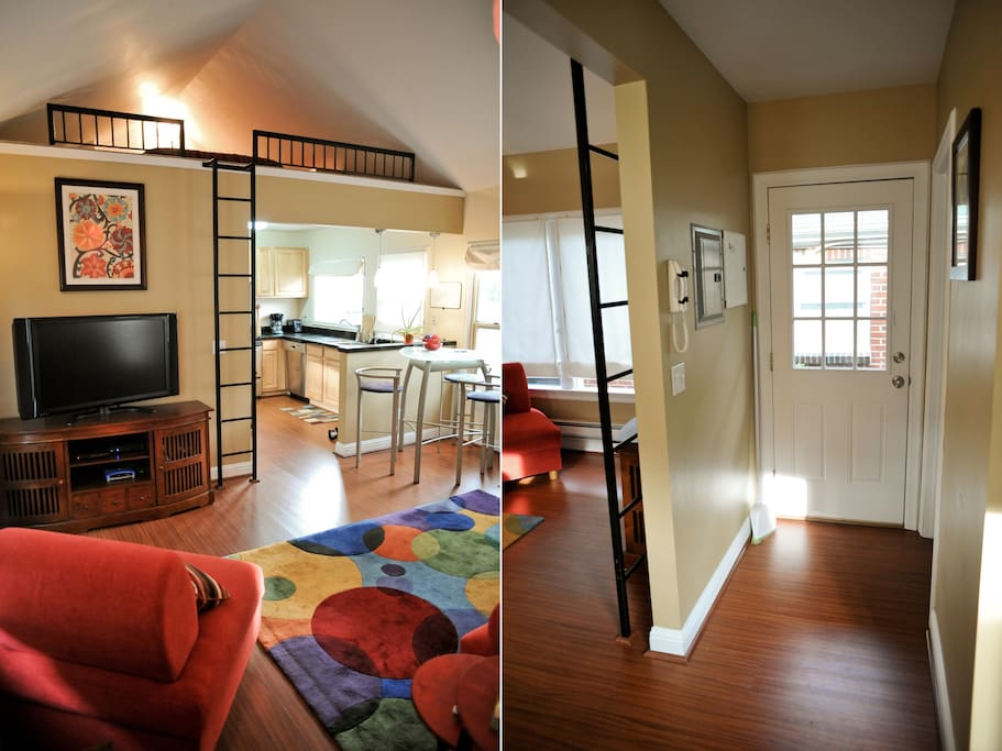 Views of the living area, loft, and entryway