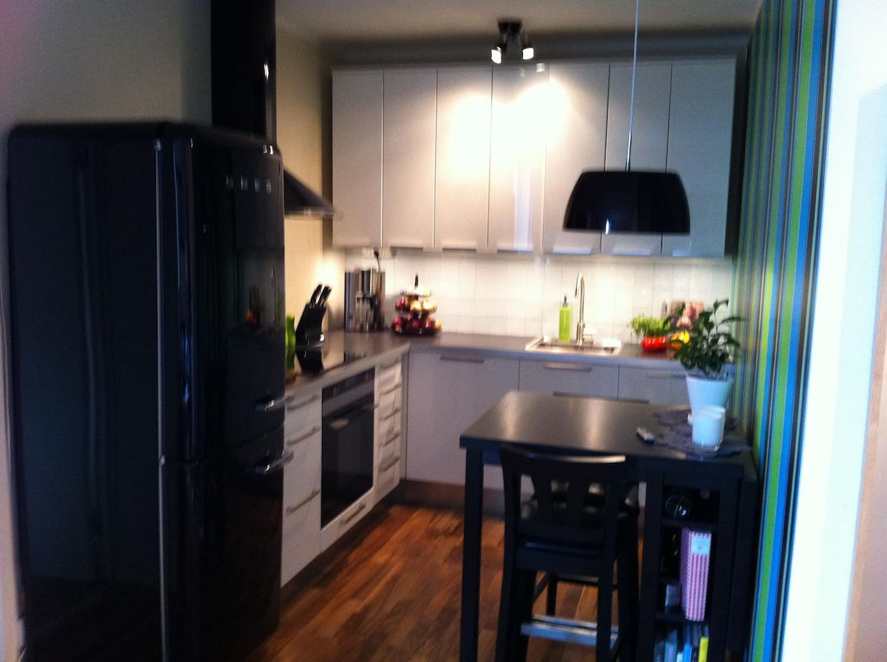 Modern efficient kitchen for you to wake up into homemade breakfast and coffee.
