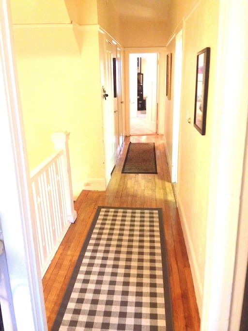 Long hallway and hardwood floors make this home feel very traditional San Francisco