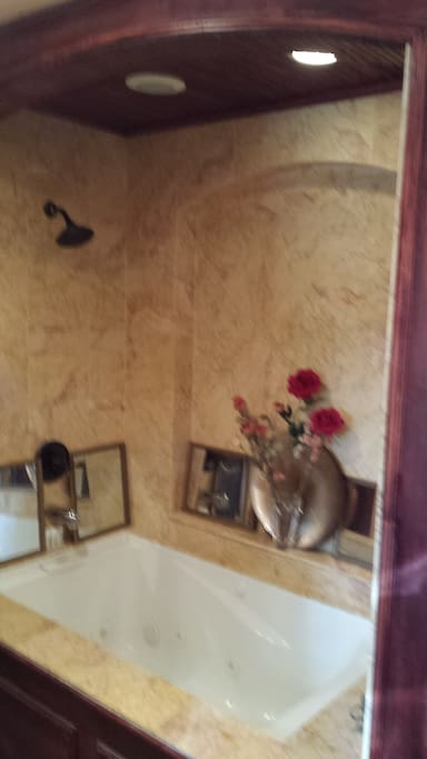 Marble enclosed jacuzzi bathing.  Washer dryer also in your suite ... fridge, microwave, convection oven/toaster all available on request.