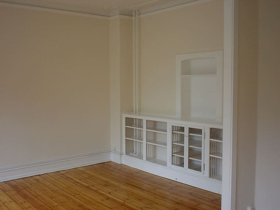 The flat has many handmade and built in storage space
