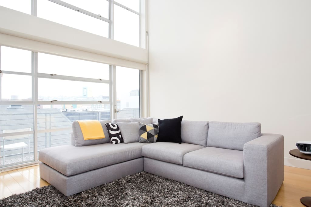 Living room, with a really nice couch