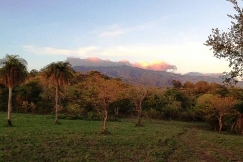 Ranch entrance with Rincon de la Vieja Volcano in the distance.