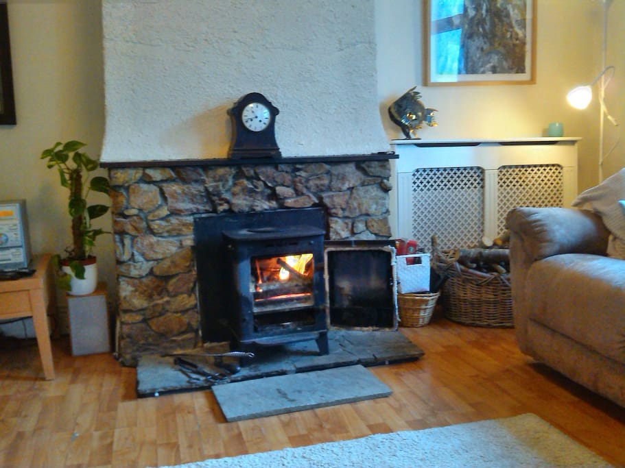 Get cosy! With a real open fire! Enjoy the heat and scent of aged pine burning while you relax or cuddle up!