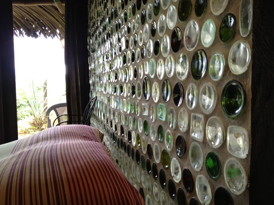 Detail of one of the bottles walls