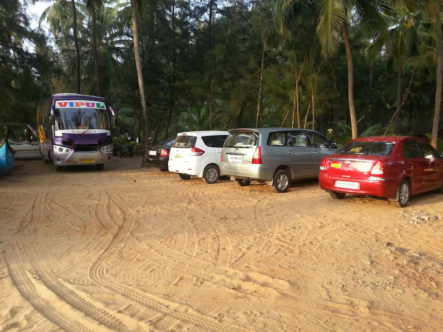 Parking area at majaliresort karwar India (near Goa)