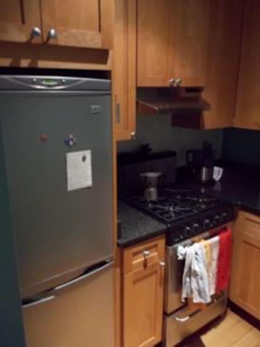Modern kitchen w/ stainless steel  appliances, gas range stove/dishwasher and granite countertops comes with breakfast fixings for guest use.