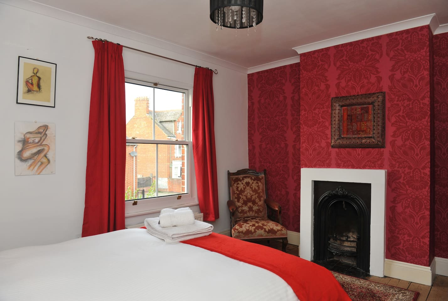 Your room with king size bed- The Red Bedroom