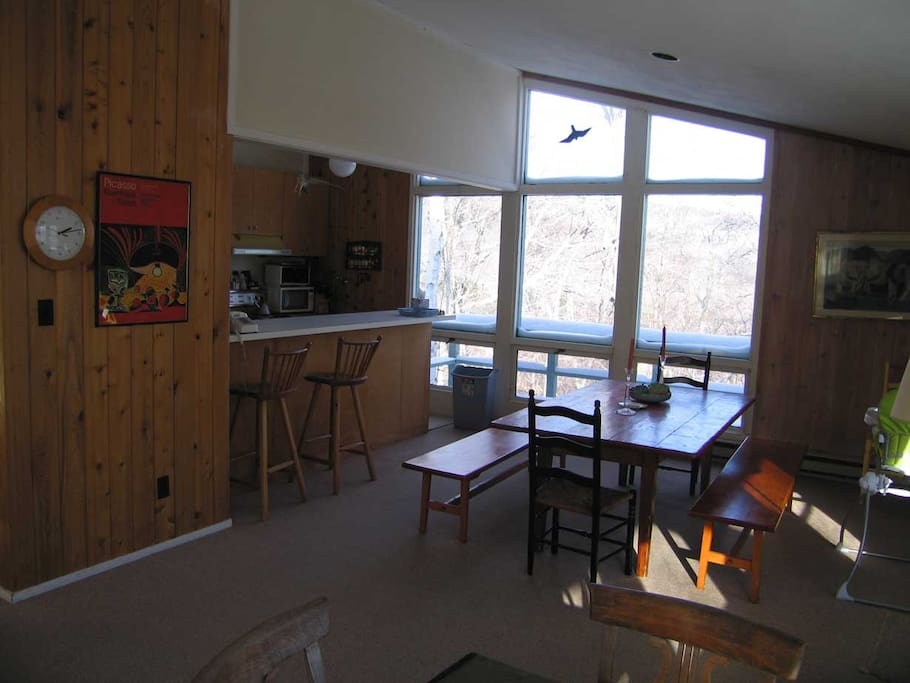 Open kitchen / dining room with spectacular Mad River Valley views
