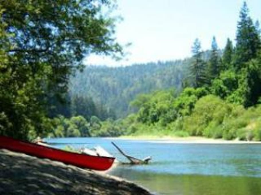 Take a canoe right from your own private beach!