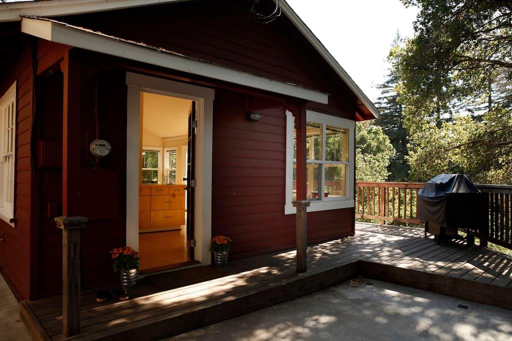 Entryway. Cute cabin outside, modern aesthetic inside.