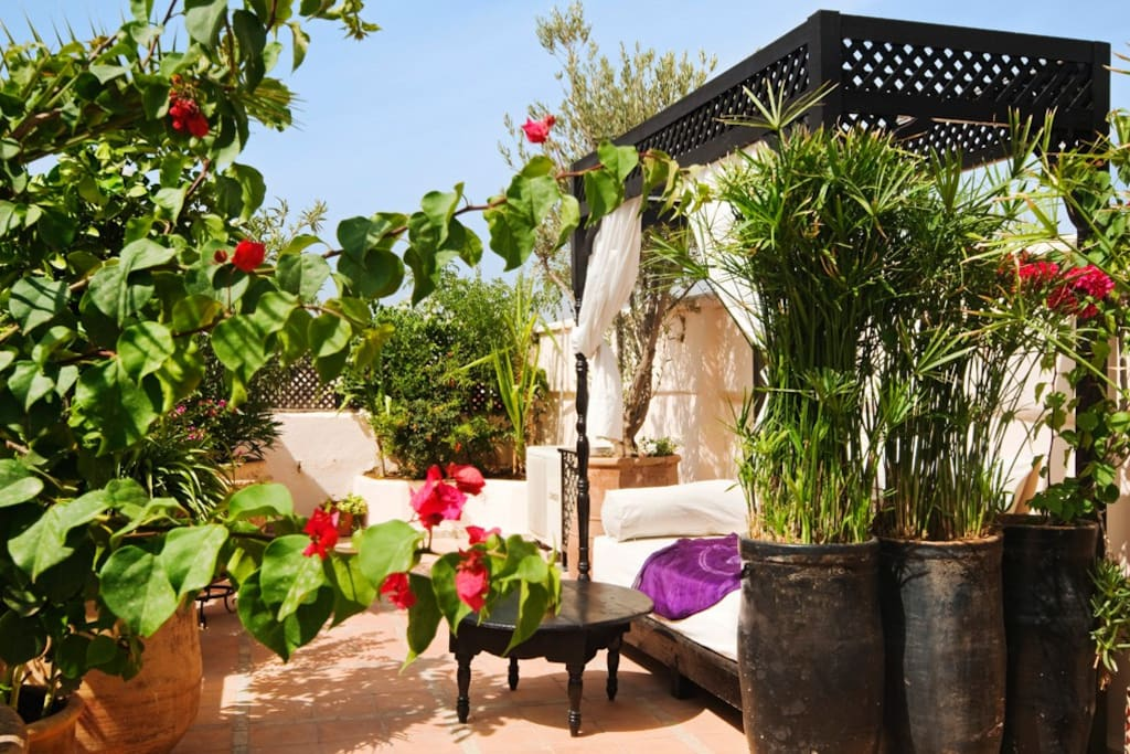 Cosy spaces on the rooftop terrace are perfect for sipping a Moroccan tea or relaxing with a book.