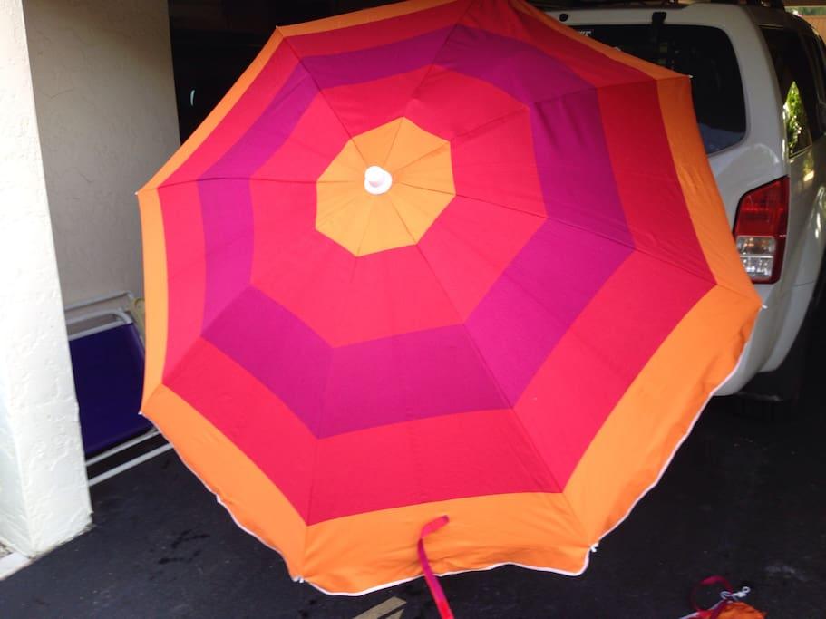 Included beach umbrella