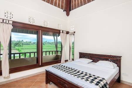 Double bed room in rice field home