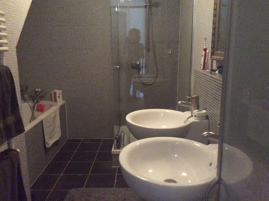 Badkamer met douche, bad en dubbele wastafel. Apart toilet, ook op 1e verdieping.
