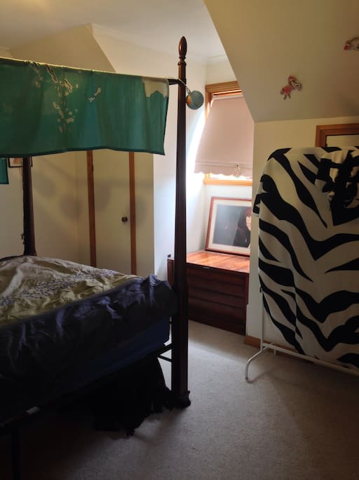 Master bedroom! Bed has been moved around, new photos soon.