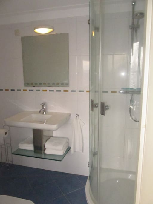 en-suite bathroom with shower, toilet and washbasin