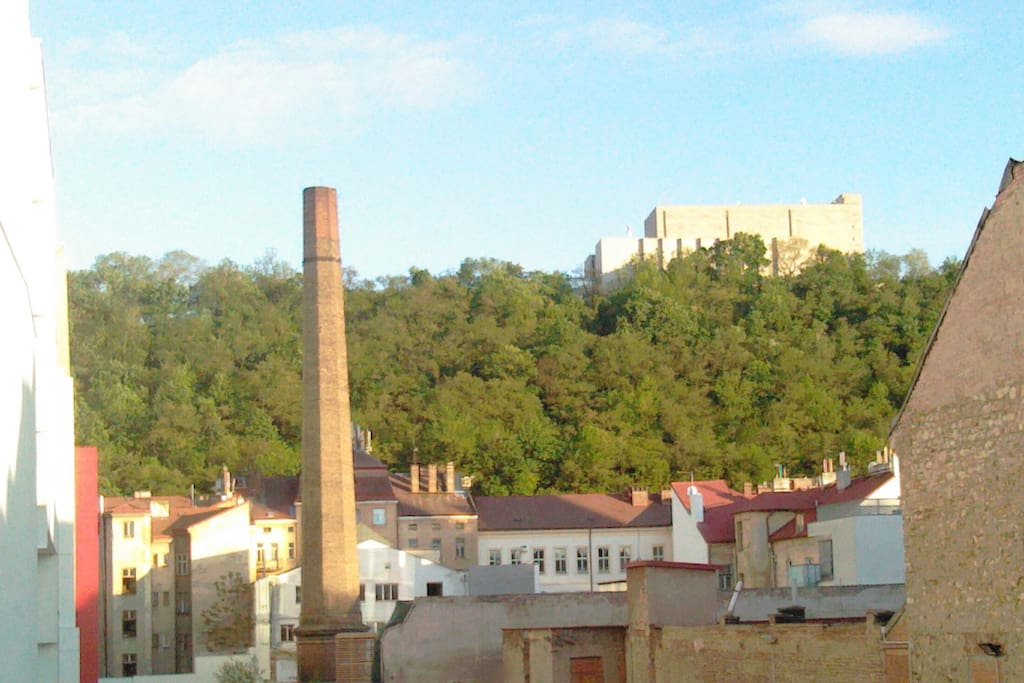 view from the window, industrial Karlin and the Vitkov hill
