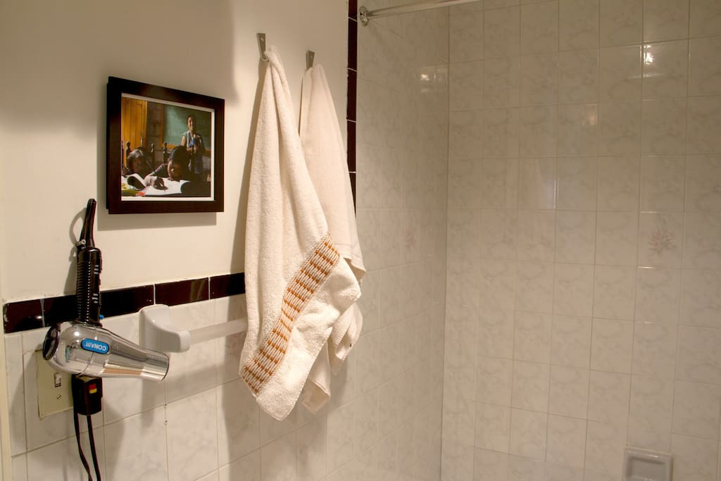Bathroom towels and hair dryer provided