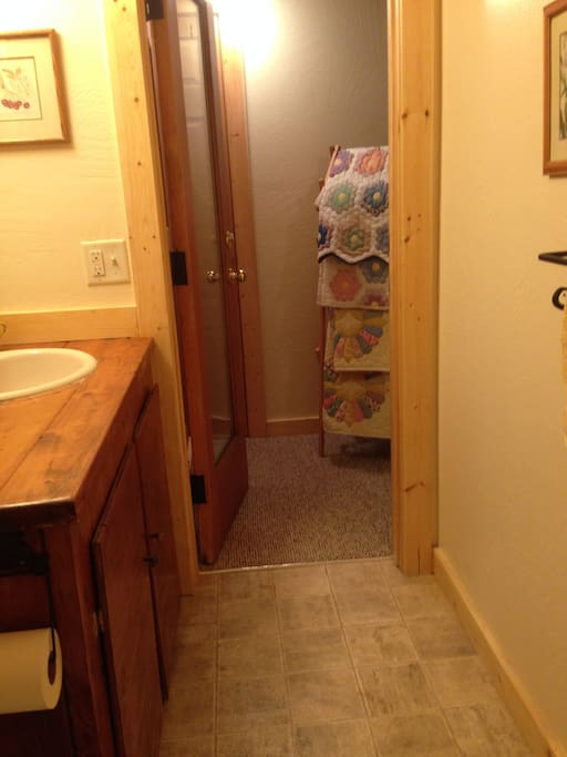Your private half-bath is all your own; shower available upstairs in my home.