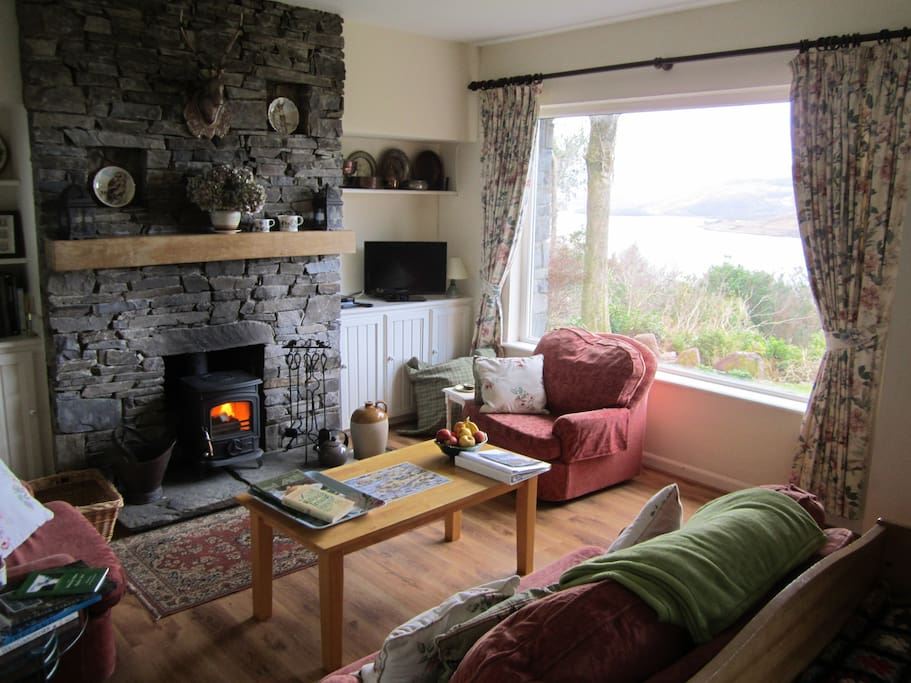 Warm and Cosy with the stove and wonderful views.