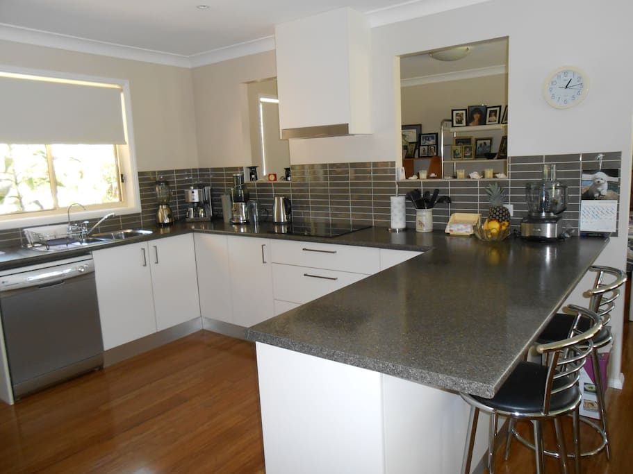 Fully-equipped modern kitchen may be used by guests