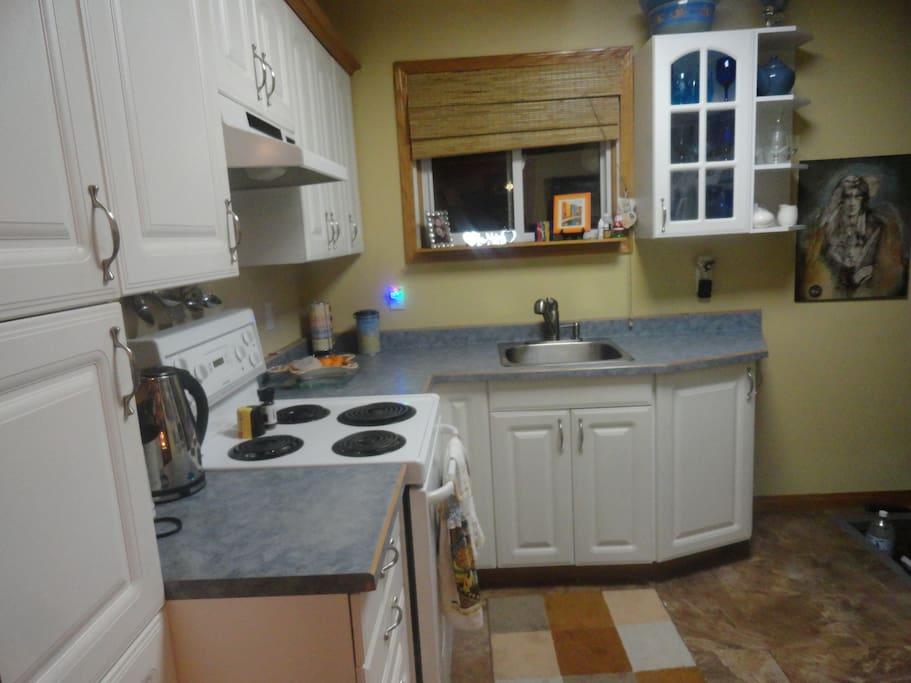 Bright cheery kitchen.