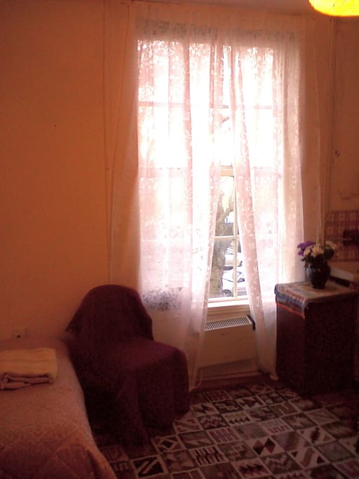 Large Window. As well as curtains, as seen, the window also has venetian black out blinds which can be lowered at night