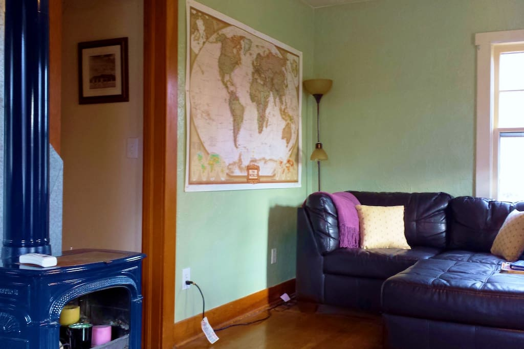 The map in the living room inspired the travel theme throughout the house.