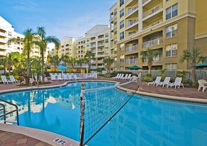 Enjoy an award winning-resort just 5 minutes from Disney World without paying high resort prices! The resort also offers scheduled shuttle services to and from Disney World & Universal Studios, free parking and more!