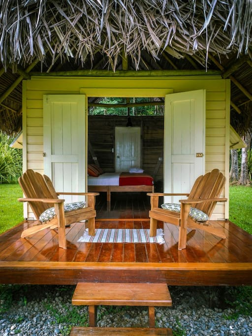 Each Cabana has it's own private deck with hammock and chairs