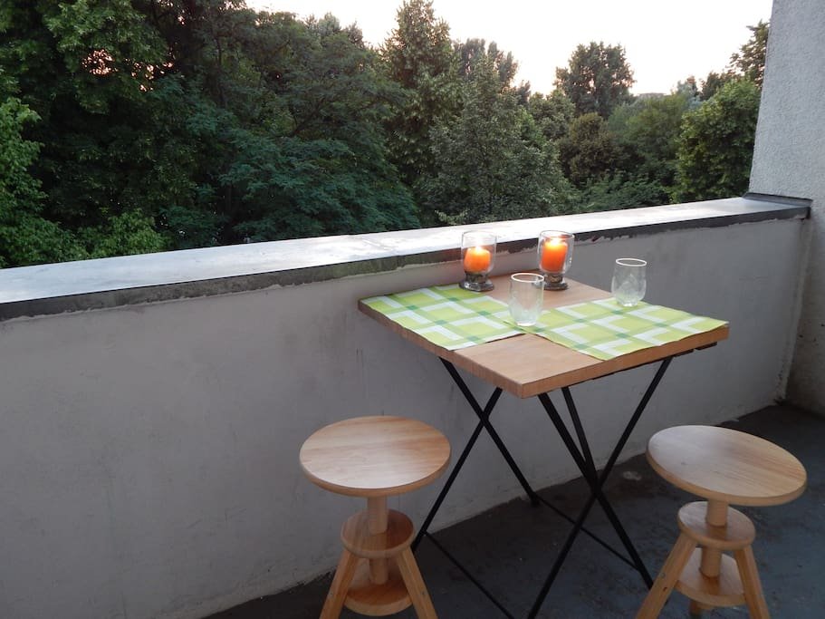 the small terrace in the evening light
