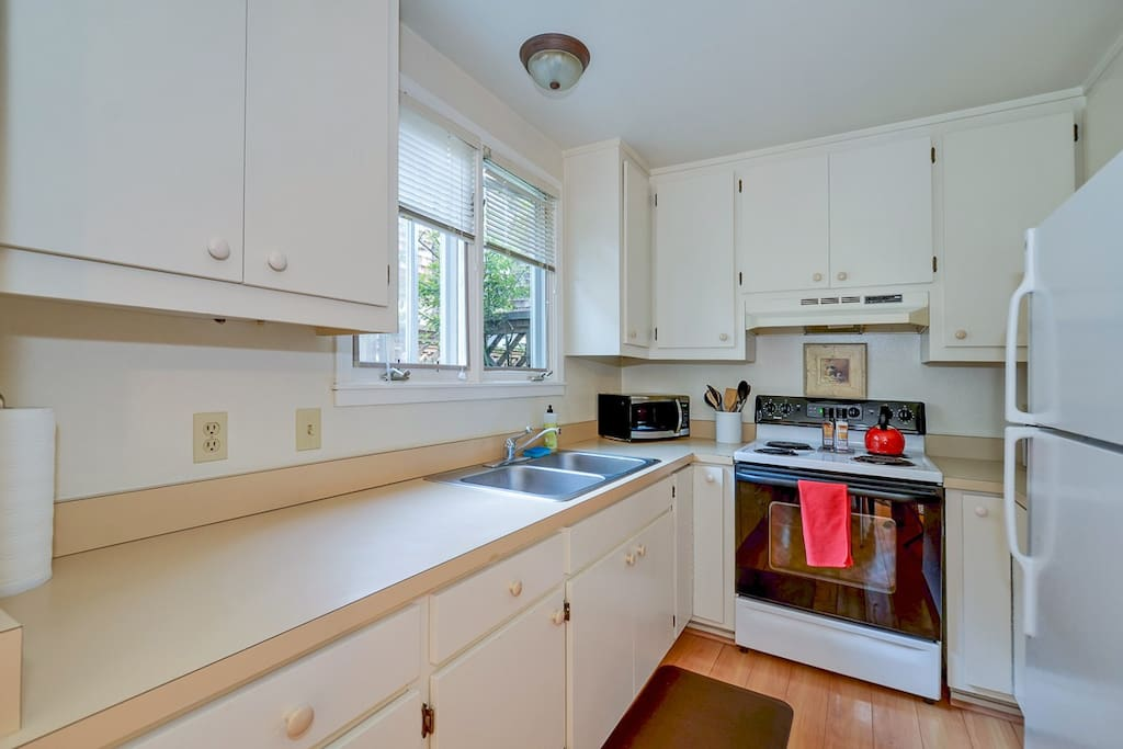 Generous kitchen makes eating-in easy when you want to.
