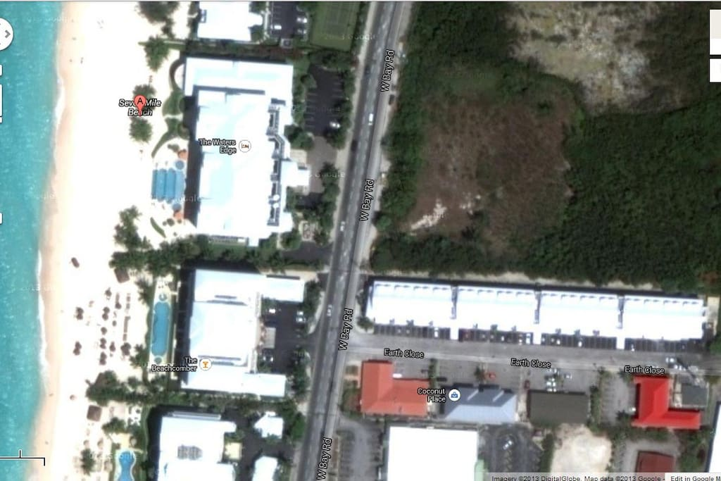 Satellite image showing Park Place (Earth Close) and the nearby Seven Mile Beach