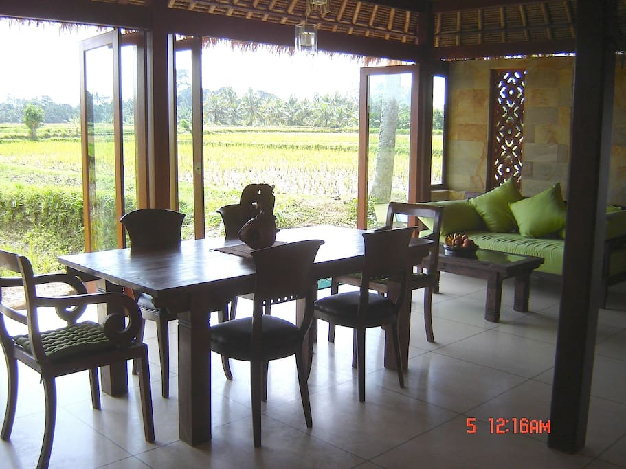 Dining area and views of the paddies
