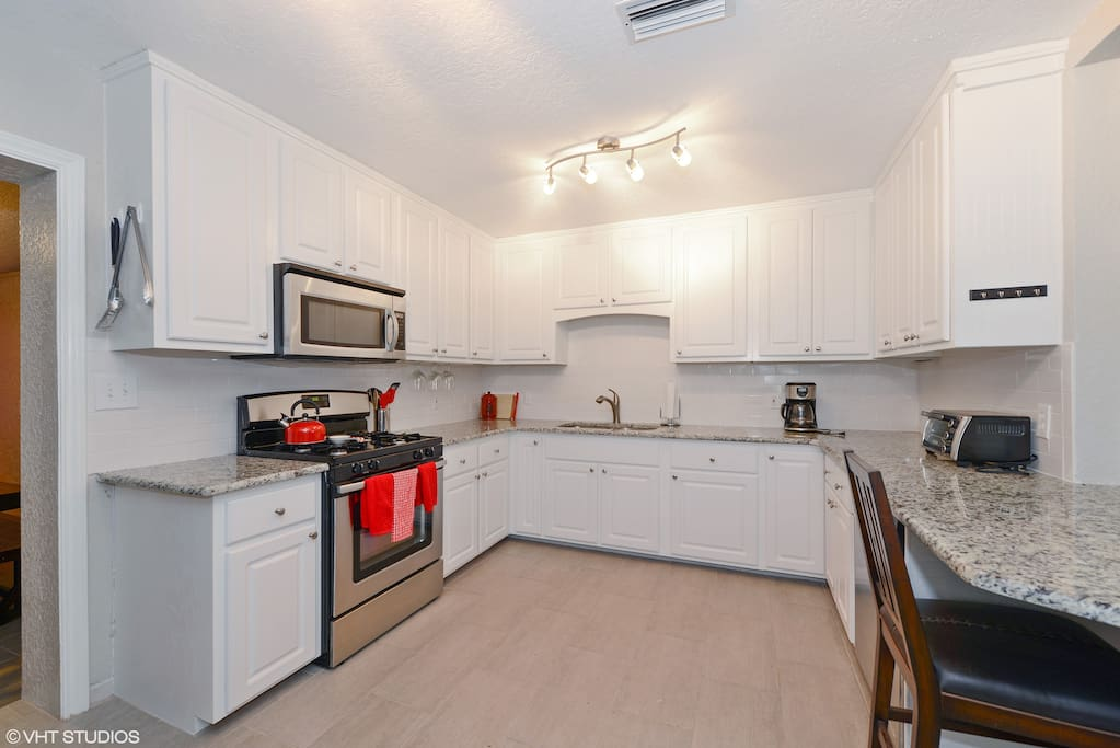 The kitchen is completely upgraded with stainless appliances all you will need for your culinary adventures