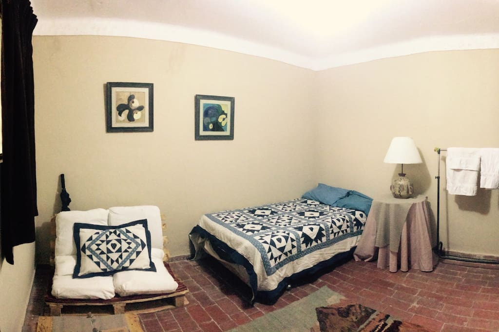 A complete view of this cozy bedroom. All the furniture are eco-friendly made by us.