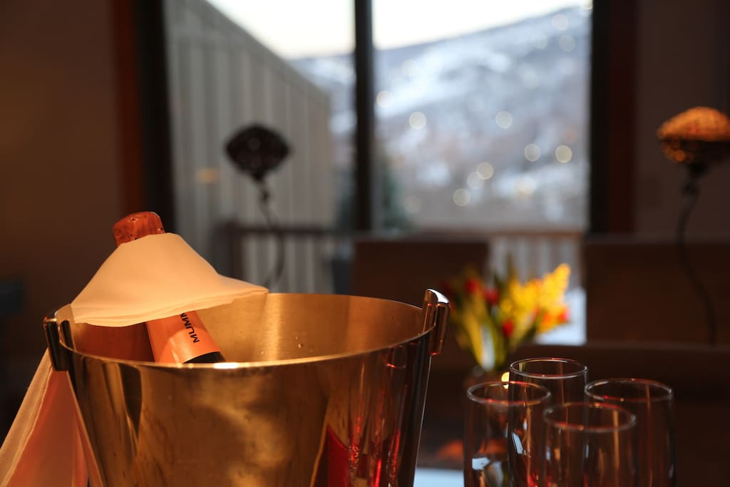 A warm welcome with a bottle if chilled pink bubbly and fresh flowers await Skiview guests!