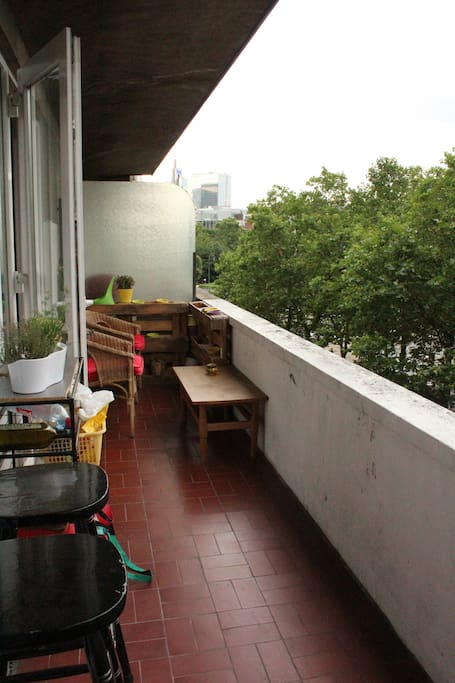 Enjoy your morning coffee on our beautiful terrace. Even when rain comes, the roof 'll keep you dry! (more or less)