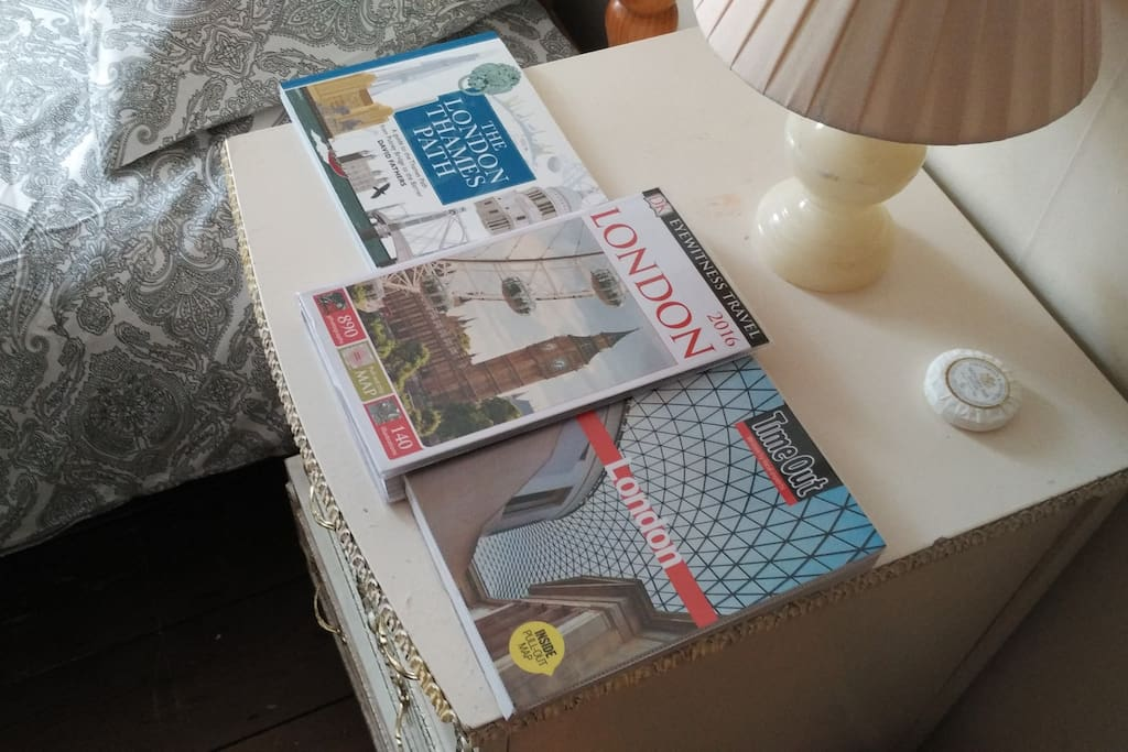 Bedside table - please use the books to make the most of your visit!