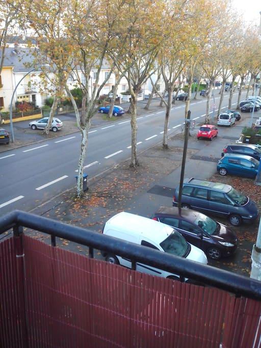 Le boulevard avec ses places de parking
