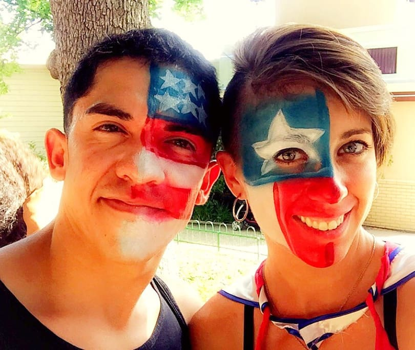 Your hosts!! We are obviously kind of silly and very fun loving. We love America, we love Texas, and we love people. We welcome EVERYONE and love to have guests from all walks of life. We both travel and are super excited to meet you and hear some of your story. Welcome to the Little House on the Prairie!
