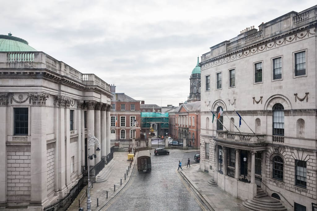 View from living room - City Hall to the left, Dublin Castle straight ahead, and the old Newcomen Bank (1781) on the right