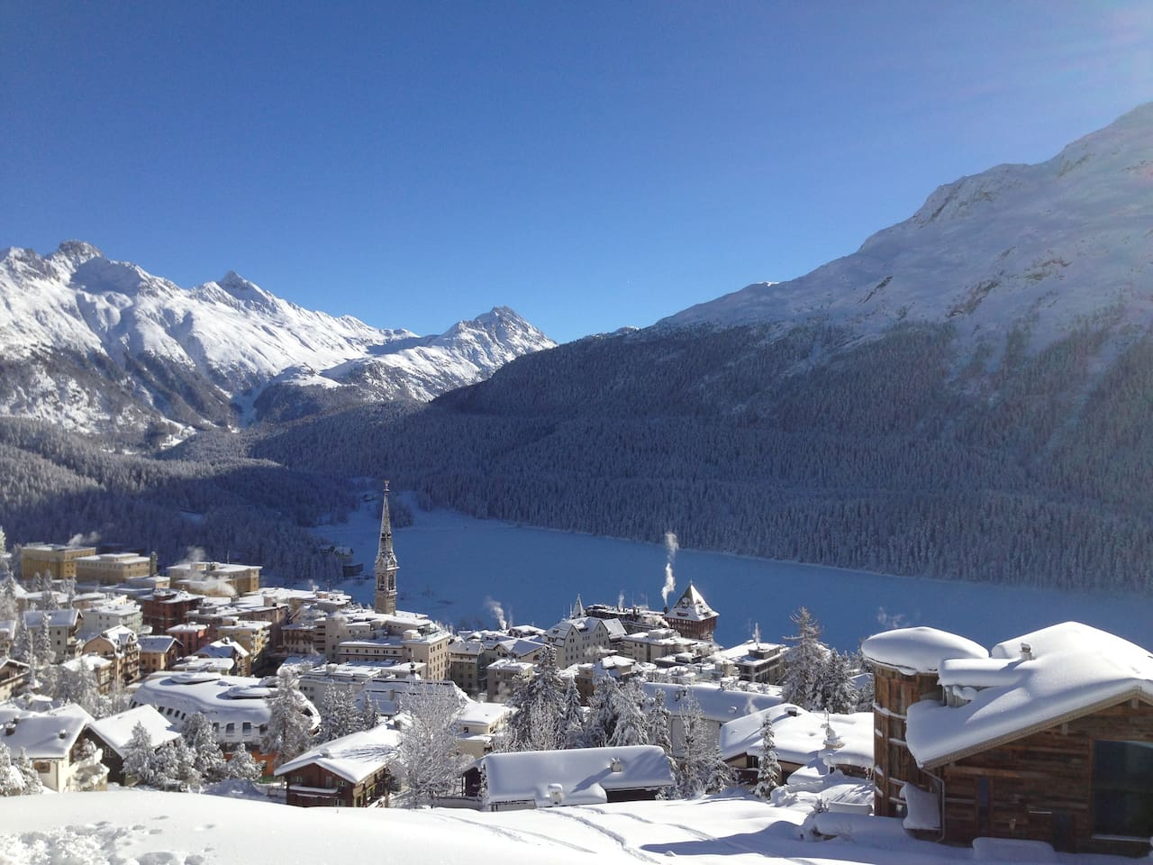 The view of St. Moritz from the apartment.