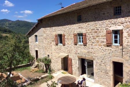 Maison en pierre avec piscine - Bourg-Argental