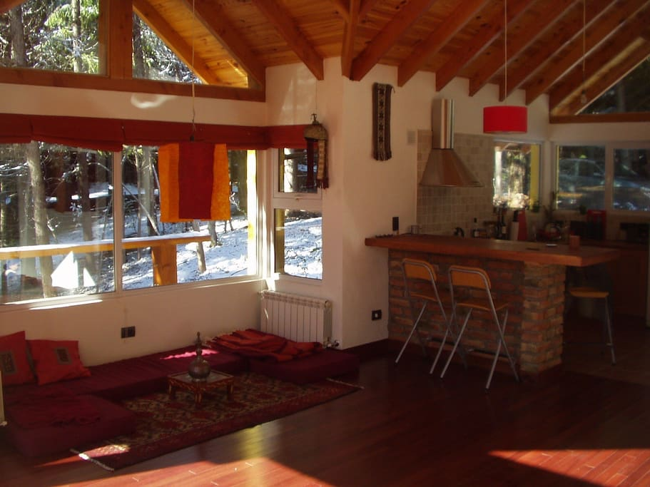 Tea Lounge, Wooden Bar and Open Kitchen