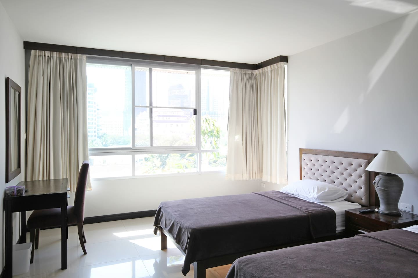 2 Single Beds or joined to form a super king-sized bed!