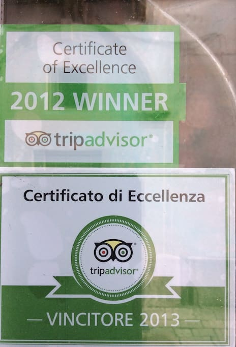 TRIPADVISOR Certificate of Excellence 2013 & 2012